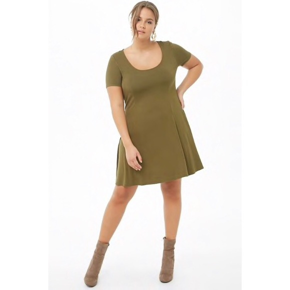 PLUS SIZE! Forever 21 Skater Dress • Olive Green NWT